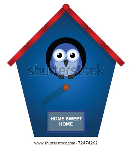 Bird looking out from his bird house - stock vector