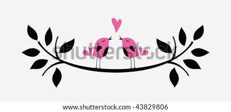 bird love card - stock vector