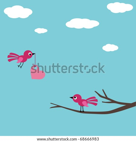 Bird love card - stock vector