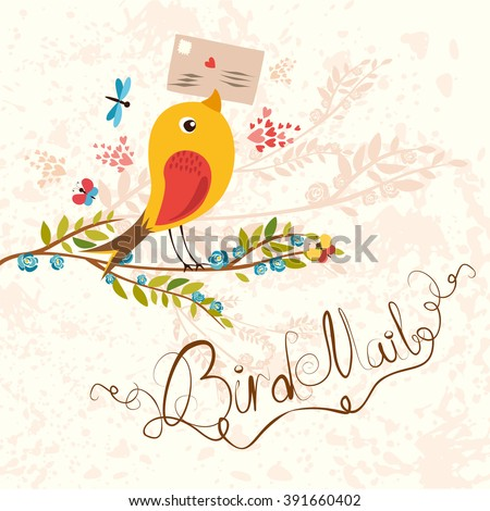 Bird-mail. postcrossing cheerful. cute bird with letter. Spring mood.