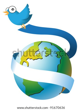 Bird mascot encircling the earth with red ribbon