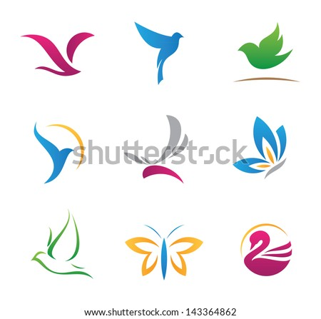 Bird nature flying rhythm mechanics symbols logo and icons - stock vector
