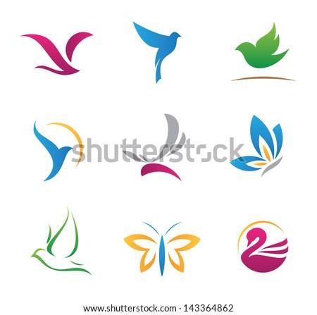 Bird nature flying rhythm mechanics symbols logo and icons - stock vector
