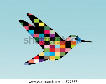 bird of many colors - stock vector
