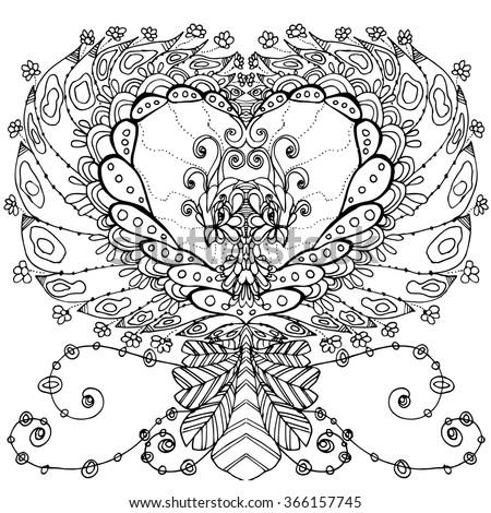 Bird Paradise Double Headed Imaginative Stock Vector 366157745