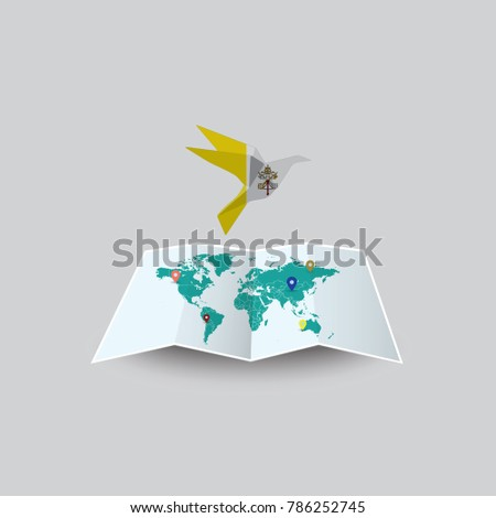 Bird peace world vatican city flag stock vector 786252745 bird of peace in the world in vatican city flag image of a vector world gumiabroncs Image collections