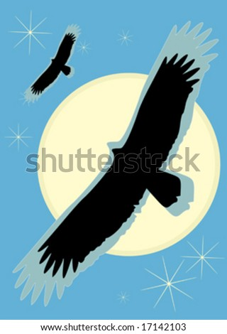Bird of prey with sun and stars above - stock vector