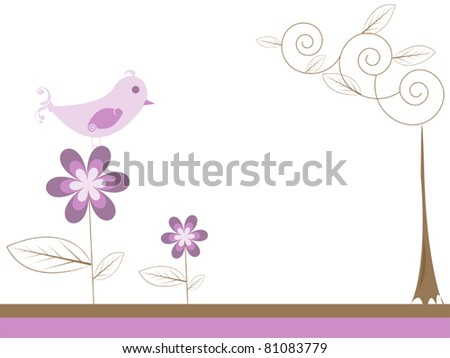 bird on a flower - stock vector
