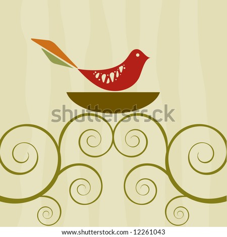 Bird on a nest with retro style background and swirly branches - stock vector