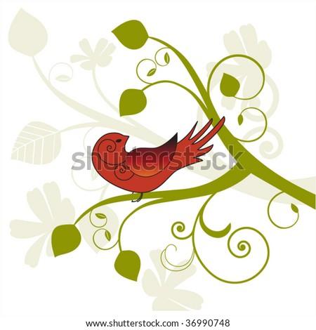 Bird on a vine with foliage - stock vector