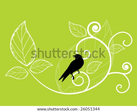 bird on coil with leaves - stock vector