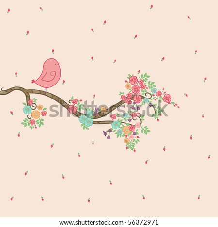 bird on floral branch - stock vector