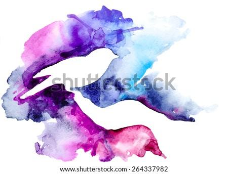 Bird on hand, watercolor background - stock vector