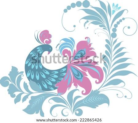 bird on the flower - stock vector