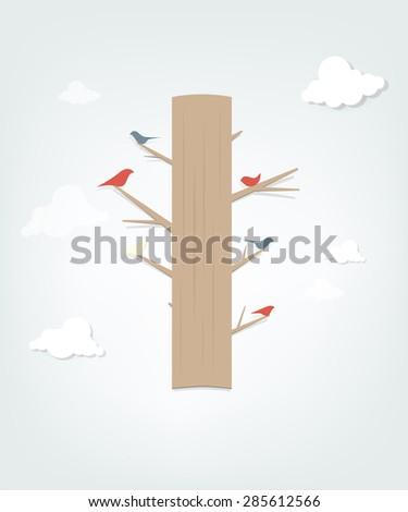 Bird on tree - stock vector