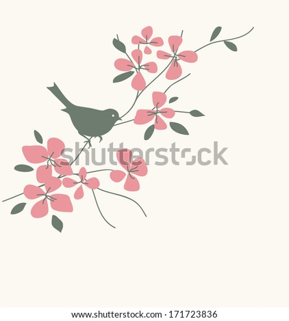 Bird on twig - stock vector