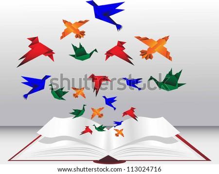 bird Origami abstract on book vector - stock vector