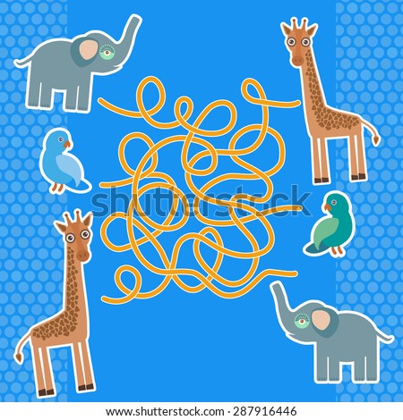Bird parrot elephant and giraffe on blue background labyrinth game for Preschool Children. Vector - stock vector