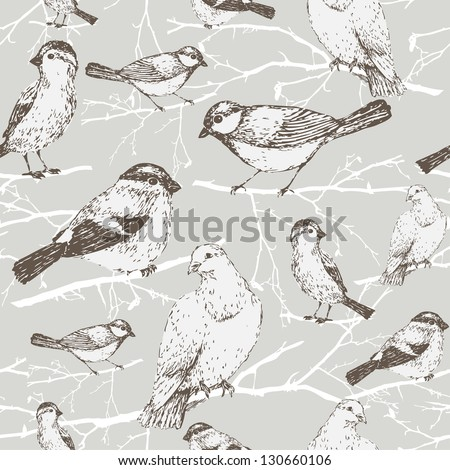 Bird pattern with sparrow, pigeon, bullfinch, titmouse. Background vintage bird and branch