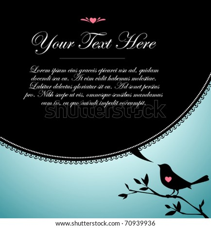 Bird's black text bubble - stock vector
