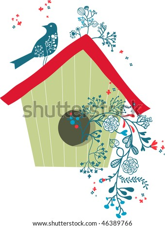 bird's house - stock vector