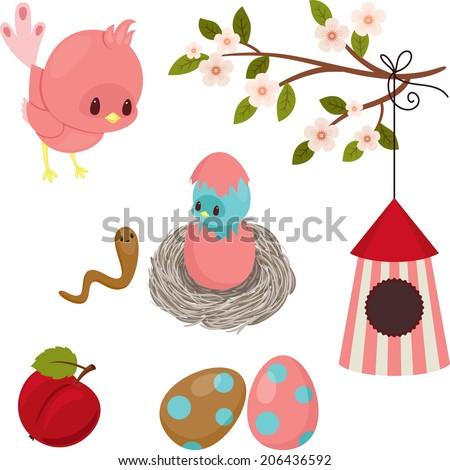 Bird's life. Cute cartoon icons over white - stock vector