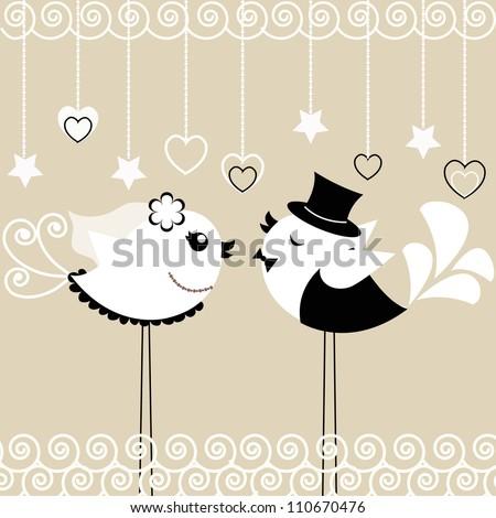 Bird's wedding - stock vector
