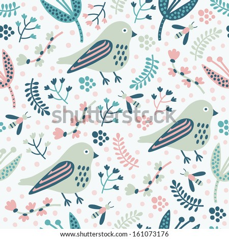 bird seamless pattern  - stock vector