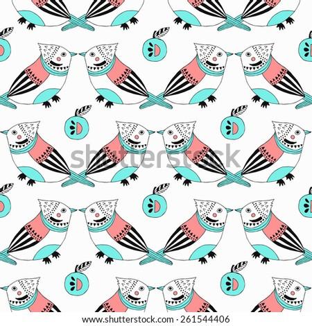 Bird seamless pattern. Vector illustration.  - stock vector