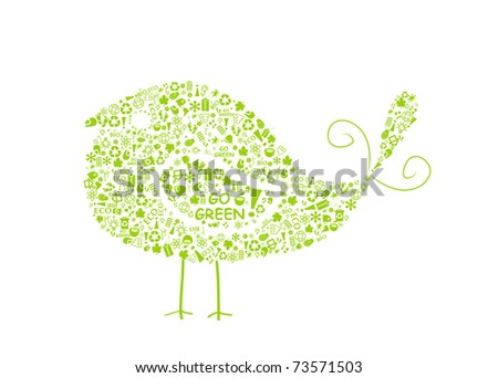bird silhouette filled with go green eco signs on white backdrop - bulb, leaf, globe, drop, apple, house, trash. Ecology concept. - stock vector