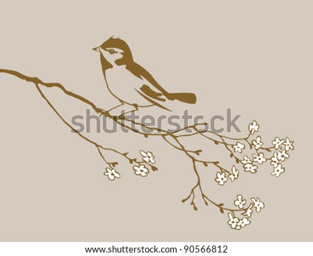 bird silhouette on brown background, vector illustration - stock vector