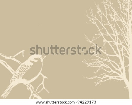 bird silhouette on wood background - stock vector