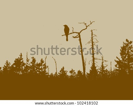 bird silhouette on wood background, vector illustration - stock vector