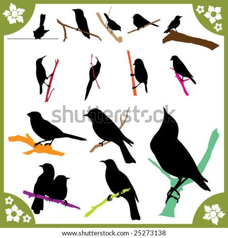 bird silhouettes part1 of 2:birds on branch - stock vector