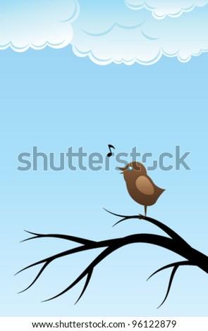 Bird singing song on tree branch - stock vector