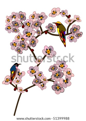 bird sitting on a branch of flowering tree on a white background - stock vector