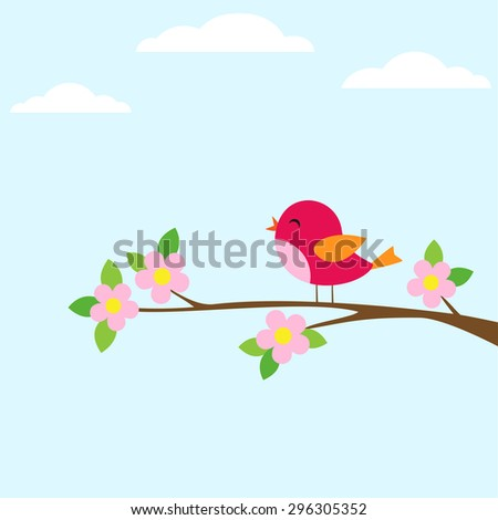 Bird sitting on blooming branch. Vector illustration - stock vector