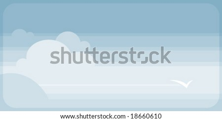 Bird soars through a peaceful happy sky and clouds - stock vector