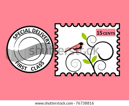 Bird stamp - layered for easy editing - stock vector