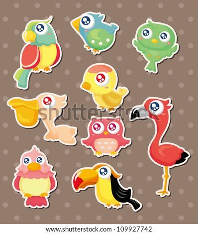 bird stickers - stock vector