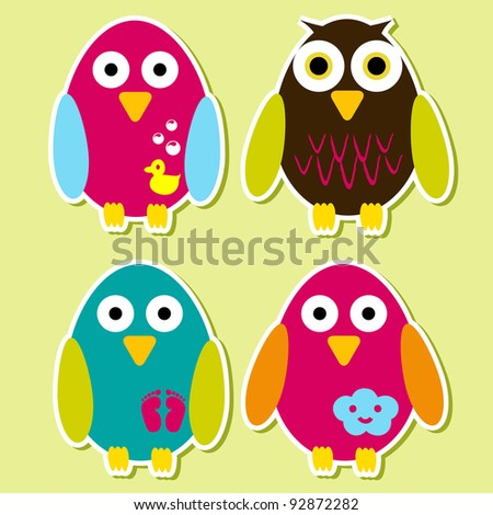 Bird stickers - stock vector