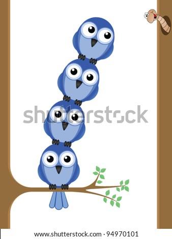 Bird teamwork to reach a worm for their lunch - stock vector