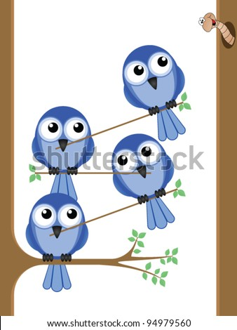 Bird teamwork to reach a worm for their lunch - stock vector