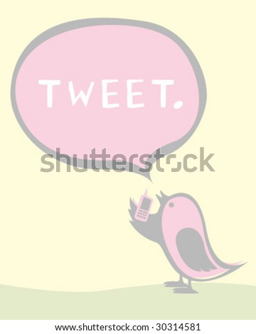 Bird Tweets - Editable Vector Illustration - stock vector