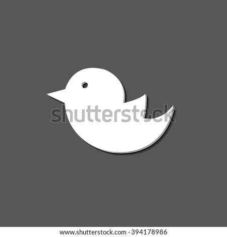 bird - white vector icon  with shadow