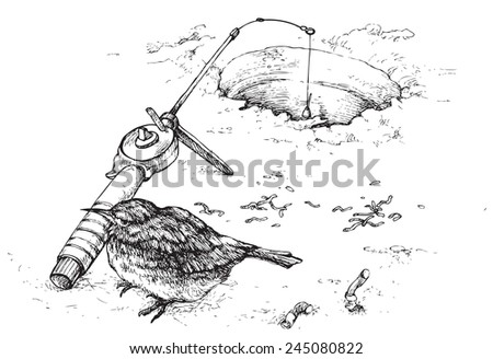 bird with a fishing rod on winter fishing on a white background, vector illustration drawing  stylized engraving - stock vector