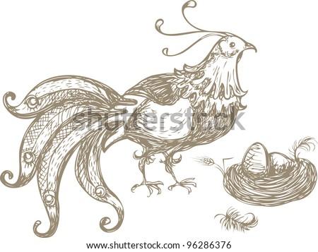 Bird with a nest - stock vector