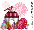 Bird with cage and pretty flowers - stock vector