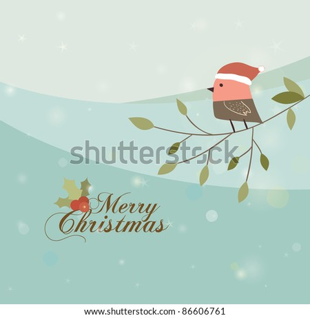 Bird With Christmas Hat on The Branch. Winter Time