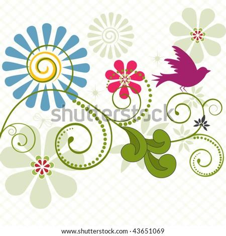 bird with coils and flowers - copyspace below - stock vector